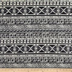 Stretch Ponte de Roma  Knit Aztec Print Black/Ivory from @fabricdotcom  This floral printed ponte de roma double knit fabric is perfect for creating skirts, dresses, structured knit apparel, light jackets, heavier tops and more! It has a soft hand, full bodied drape and 50% stretch across the grain.