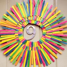 Popsicle stick wreath cute for an ice cream social