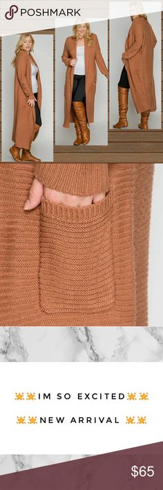 🌟New Arrival Soon🌟Plus Ribbed Duster Sweater Dusters are in this season and this one is   💞ABSOLUTELY FABULOUS 💞  Duster comes ankle length Color: Cinnamon Pockets  🌟🌟 Pre-order Item🌟🌟Like this listing and I will tag you once the item has arrived Sweaters Cardigans