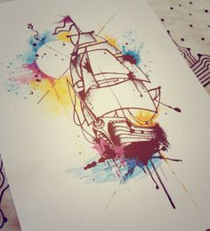 Ship and sunset watercolor tattoo design