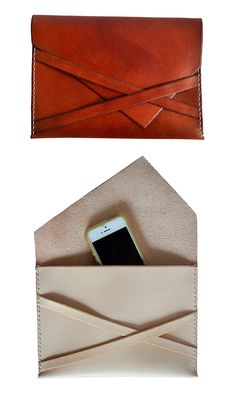 Easy to grab, easy to close — no fuss over here. This leather envelope clutch folds and tucks without any gaudy hardware, and with beautiful construction to boot. Sewn by hand, the clutch perfectly ho Leather Pouch, Leather Purses, Leather Handbags, Envelope Clutch, Clutch Bag, Leather Projects, Leather Accessories, Leather Working, Leather Craft
