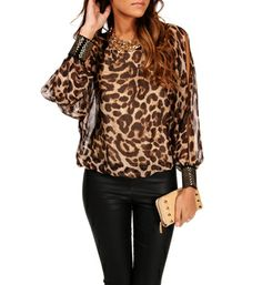 Leopard Print Studded Cuff Top