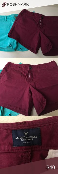 2 pairs of American Eagle shorts Burgundy and teal/green colored pair of shorts. Both from American Eagle 🦅 both size 10 MIDI. Great used condition, just needs to be ironed. Smoke free home, dog friendly American Eagle Outfitters Shorts