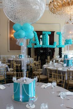 Tiffany Themed Centerpiece Tiffany Themed Bat Mitzvah with Tiffany Box Centerpieces & Sparkle Balloons Fiesta Shower, Shower Party, Baby Shower Parties, Baby Boy Shower, Bridal Shower, Sweet 16 Parties, Grad Parties, Birthday Parties, Elmo Birthday