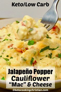 This easy to make and healthy alternative to mac and cheese this creamy cauliflower gets a spicy kick from jalapeño peppers. Cream cheese cheddar and bacon give this Keto and Low Carb version of mac and cheese great flavor. Keto Mac And Cheese, Cauliflower Mac And Cheese, Creamy Cauliflower, Cauliflower Low Carb Recipes, Mac Cheese, Keto Foods, Ketogenic Recipes, Diet Recipes, Healthy Recipes