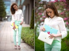 Mint Pants with Studded Collar Blouse (by We Inspire Us  .) http://lookbook.nu/look/3818423-Mint-Pants-with-Studded-Collar-Blouse
