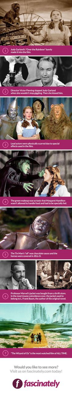 """The Wizard Of Oz premiered in 1939 which proves that this movie is timeless. And… The Wizard Of Oz premiered in 1939 which proves that this movie is timeless. And even all the """"superfans"""" of this classic probably didn't know these 7 facts… until now. Wizard Of Oz Movie, Wizard Of Oz 1939, Movie Facts, Funny Facts, Movie Trivia, Funny Quotes, Weird Facts, Most Popular Movies, Great Movies"""