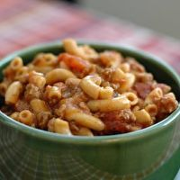 Goulash. Simple and easy. Take out the onion and it should be good...I hope so anyways