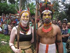 A traditional marriage ceremony in Papua New Guinea. This modern couple (both nurses working in PNG) chose to have a traditional Southern Highlands marriage in the groom's village.