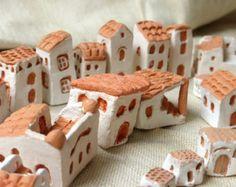 ON SALE - mediterranean miniature clay houses