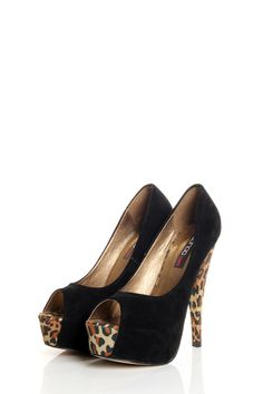 Black Peeptoe Leopard Print Suede Platforms <3 how about these?