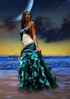 Couture Ariel Inspired  Mermaid Under the Sea Enchanted Fin Dress Custom Made Adult Costume