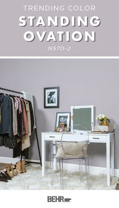 Today, we're shining the spotlight on Behr Paint in Standing Ovation. This near-neutral is a light shade of lilac and brings a glam pop of color to this girl's bedroom. Use chic accessories, like a wh