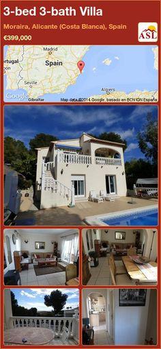 3-bed 3-bath Villa in Moraira, Alicante (Costa Blanca), Spain ►€399,000 #PropertyForSaleInSpain
