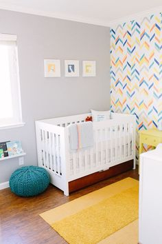 Baby Silas and His Fun Nursery | Herringbone Shuffle Stencil | Royal Design Studio