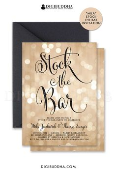 bokeh stock the bar invitations for engagement party or couples shower brunch to honor the couple