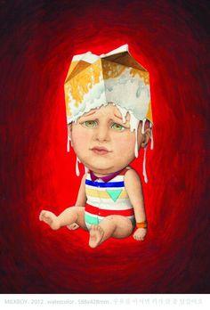 MILK BOY  by DIREN  watercolor on paper