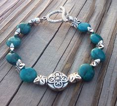 Chrysocolla Coin Toggle Bracelet by McHughCreations on Etsy