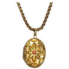 Victorian Coral and Gold Locket Pendant Necklace Gold Locket, Gold Necklace, Pendant Necklace, Coral And Gold, Hand Engraving, Victorian, Pendants, Chain, Antiques