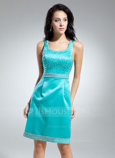 Cocktail Dresses - $108.99 - Sheath/Column Scoop Neck Knee-Length Satin Cocktail Dress With Beading (016014900) http://jjshouse.com/Sheath-Column-Scoop-Neck-Knee-Length-Satin-Cocktail-Dress-With-Beading-016014900-g14900
