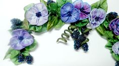 Ribbonwork Purple and Blue Pansies With by lambsandivydesigns, $35.95