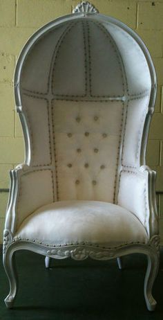 █▬█ ☼ ▀█▀ White Porters Chair Domed Bonnet Throne King Queen Rock Glamour | eBay