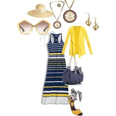 """""""Day At Sea~~"""" by tenaciousc on Polyvore. Featuring Anchor Earrings by Baubella"""