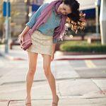 Denim shirt with sequin or lace skirt, platform heels