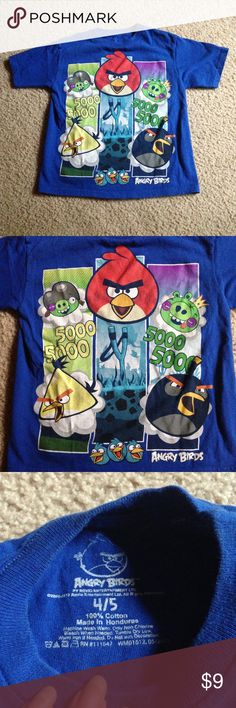 Blue Angry Birds t shirt size 4/5 Very colorful shirt with all your favorite birds! Shirts & Tops Tees - Short Sleeve