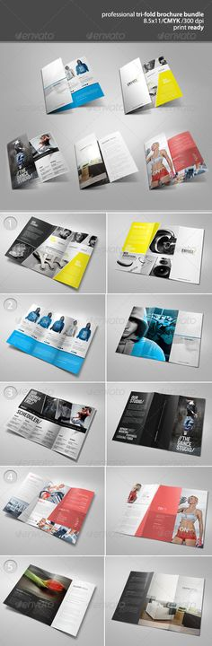 Tri-Fold Brochure Bundle 2  #red #simple #sport wear • Click here to download ! http://graphicriver.net/item/trifold-brochure-bundle-2/3238673?s_rank=72&ref=pxcr