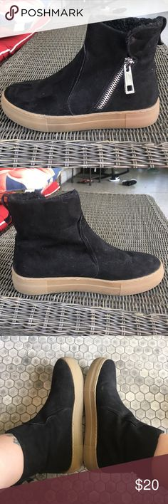 Nine West black sneaker/booties These are a black faux suede sneaker/bootie that zips up on the outside.  Lined with fleece.  Very good condition...only worn a handful of times. Nine West Shoes Ankle Boots & Booties