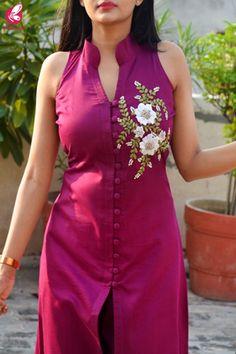 Buy Wine Ribbon Handwork Cotton Silk Kurti with Wine Cotton Silk Pants Online in India Salwar Kameez Neck Designs, Silk Kurti Designs, Churidar Designs, Kurta Neck Design, Kurta Designs Women, Kurti Designs Party Wear, Dress Neck Designs, Stylish Dress Designs, Designs For Dresses