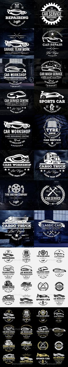 Cars Logos Badges Set - #Badges & #Stickers #Web Elements Download here: https://graphicriver.net/item/cars-logos-badges-set/19702560?ref=alena994
