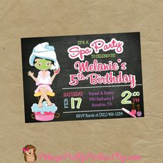 Girls SPA Birthday Party Invitation