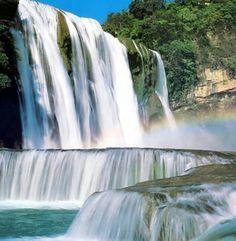 Rainbow crossing a Waterfall in Sivas Province in Turkey