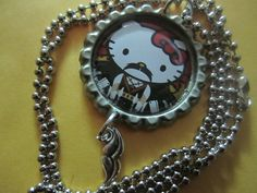 Hello Kitty Mustache Bottle Cap Necklace by TinkerbevsTrinkets, $7.99