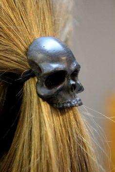 Black Onyx Human Skull Pony tail Holder Hair Tie