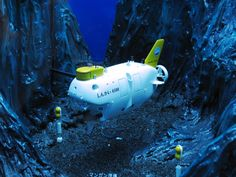 A model of the Shinkai 6500, a manned research submersible that can dive up to a depth of 6,500 m owned and run by JAMSTEC (Japanese Agency for Marine Earth Science and Technology).