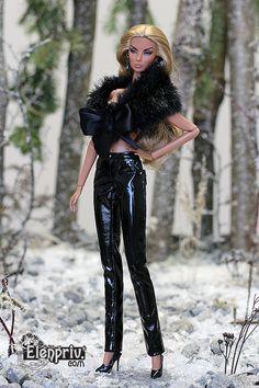 elenpriv black PATENT leather pants for Fashion royalty FR2 body doll