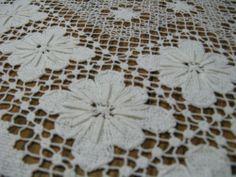 Antique Bobbin Lace Tablecloth cluny vintage ecru. I don't think so. filet lacis