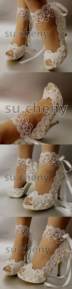 """Wedding Shoes And Bridal Shoes: 3 4"""" Heel White Ivory Satin Lace Ribbon Open Toe Wedding Shoes Bride Size 5-9.5 BUY IT NOW ONLY: $59.99 #weddingshoes"""