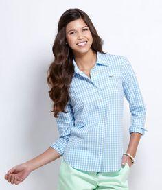 Vineyard Vines Women's Button Down Gingham Shirt
