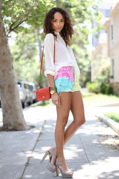 dipdye denim shorts and seethrough white buttondown shirt. by ashley madekwe #revenge #fashion
