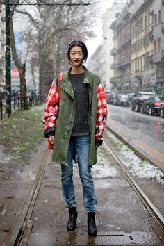 Ji Hye Park, model. Street Style from Milan Fashion Week at the Spring Summer 2013 shows.