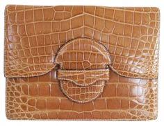 Hermes Greige Crocodile Porosus Ultra Rare Beige, Tan Clutch