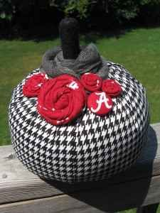 For mom make the strips of houndstooth smaller and add less rossettes.  Even make an actual pumpkin into an elephant.