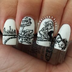 Poems For Children: 15 Works Of Nail Art Inspired By Your Favorite Children's Books - this one = Where the Sidewalk Ends by Shel Silverstein Love Nails, Pretty Nails, Nail Art Designs Images, Short Nails Art, Beautiful Nail Designs, Fabulous Nails, Nail Art Galleries, Cool Nail Art, Nail Artist