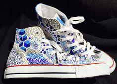 Custom Shoe Designs by FolieaShoe on Etsy Converse Design, Cute Converse, Converse Sneakers, Custom Painted Shoes, Hand Painted Shoes, Custom Shoes, Painted Clothes, Fashion Boots, Sneakers Fashion