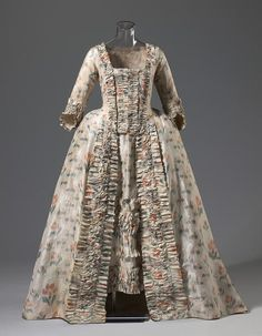 Dress (Open robe and petticoat)  (c. 1765); (c.altered 1780), FRANC, silk, linen. (c) NGV
