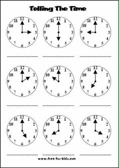 Telling Time Worksheet  To The Quarter Hour  Telling Time Clock